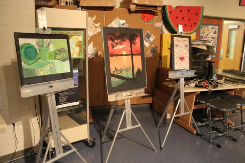 Gull Lake students prepare their art for the Kalamazoo Institute of Arts High School Area Show. Photo by Natalie Herson