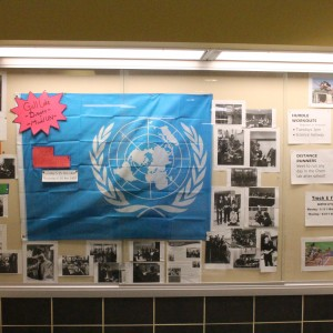 The updated Model UN cabinet that sits in the 1200 hall. It now includes pictures from the CASC event and information about meeting times. Photo courtesy of Maddie Hough.