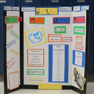 The banner made by the Model UN group that shows the different aspects of the club. It includes information about the events and different things the club will complete and hopes to complete. Photo courtesy of Stosh Tustin.