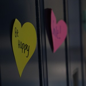 Cutout hearts with kind phrases written on them can be found throughout the high school during Kindness Week. Photo by Jenna Davison