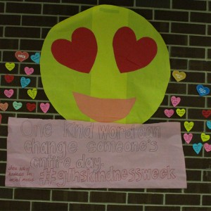 Dozens of hearts proclaiming kind messages have been posted in the cafeteria over the past week. Students and teachers alike have taken part in this effort to spread positivity. Photo by Maddie Hough.