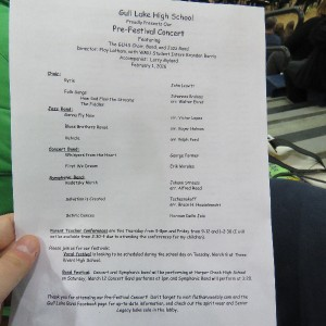 A list of the songs performed by all bands as well as the choir.
