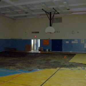 Spain Elementry-Middle School contains horrible conditions, including the unfinished gym shown in the picture. With the money donated, they can make new renovations. Photo courtesy of cbsnews.com
