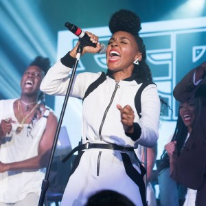 "Singer Janelle Monae giving a passionate performance of her song ""Hell You Talmbout"". Photo courtesy of npr.org"