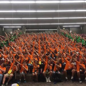 All the students that attended the 2016 MYLead Youth Leadership conference at Michigan State University, including Gull Lake sophomore Autumn Cain. Photo courtesy of Autumn Cain.